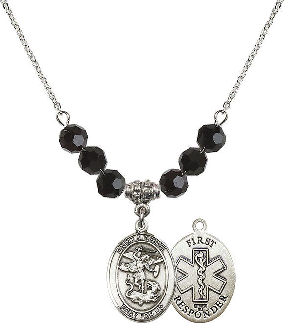 Bliss Sterling Silver 1st Responder St Michael the Archangel Swarovski Crystal Birthstone Beaded Necklace