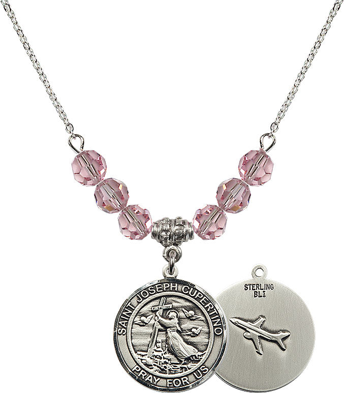 18-Inch Rhodium Plated Necklace with 6mm Light Sapphire Birthstone Beads and Sterling Silver Saint Christopher Charm.
