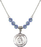 Bliss St Ann and Mary 6mm Birthstone Swarovski Crystal Sterling Silver Necklaces