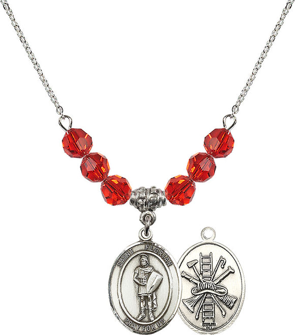 Bliss St Florian Patron Saint of Firefighter Swarovski Crystal Birthstone Beaded Necklace