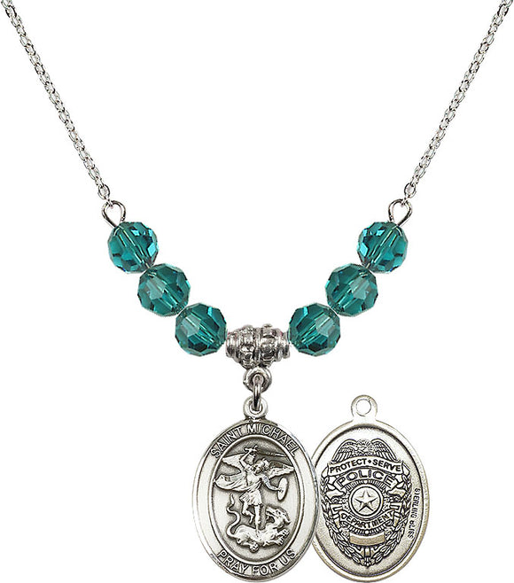 Bliss Sterling Silver Police St Michael the Archangel Swarovski Crystal Birthstone Beaded Necklace