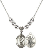 Bliss Sterling Silver St Florian Patron Saint of Firefighter Swarovski Crystal Birthstone Beaded Necklace