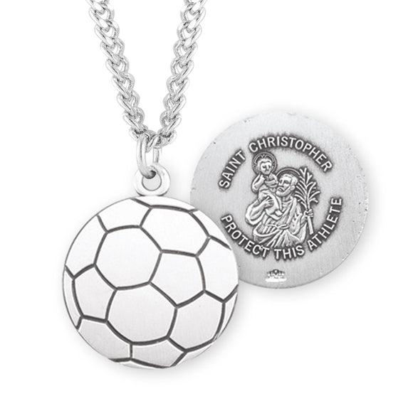 St Christopher Sterling Silver Soccer Shaped Sports Necklace by HMH Religious