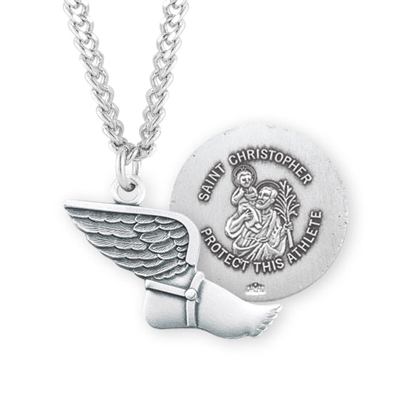 St Christopher Track and Field Sports Necklace by HMH Religious