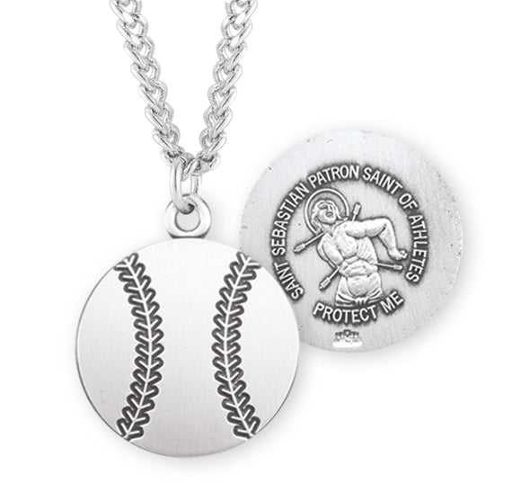 St Sebastian Sterling Silver Round Baseball Shaped Sports Necklace by HMH Religious