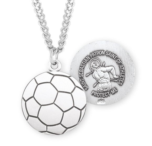 HMH Religious St Sebastian Sterling Silver Soccer Sports Necklace