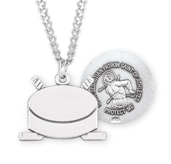 HMH Religious St Sebastian Ice Hockey Puck Sports Necklace