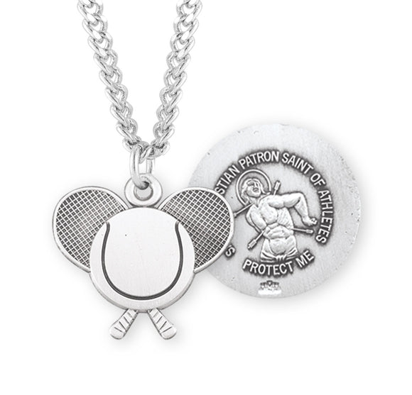 HMH Religious St Sebastian Sterling Silver Tennis Sports Necklace