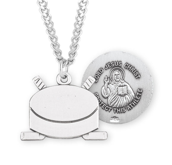 HMH Religious Lord Jesus Christ Ice Hockey Puck Sports Necklace