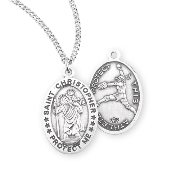 St Christopher Female Softball Sterling Silver Sports Necklace by HMH Religious