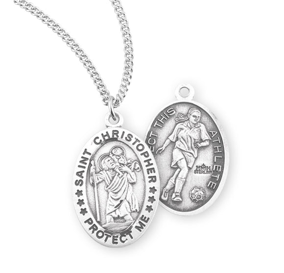 St Christopher Female Soccer Sterling Silver Sports Necklace by HMH Religious