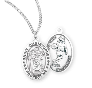 St Christopher Female Basketball Sterling Silver Sports Necklace by HMH Religious