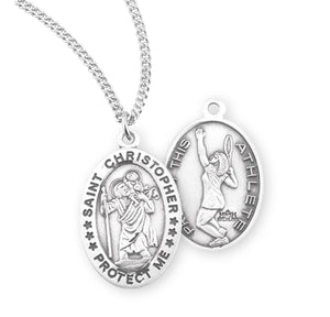 St Christopher Female Tennis Sterling Silver Sports Necklace by HMH Religious