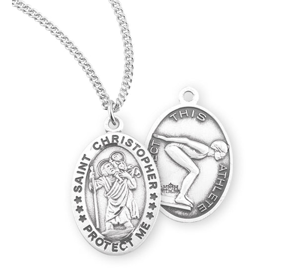 St Christopher Female Swimming Sterling Silver Sports Necklace by HMH Religious