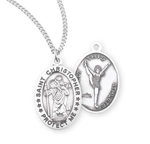 St Christopher Female Cheerleading Sterling Silver Sports Necklace by HMH Religious
