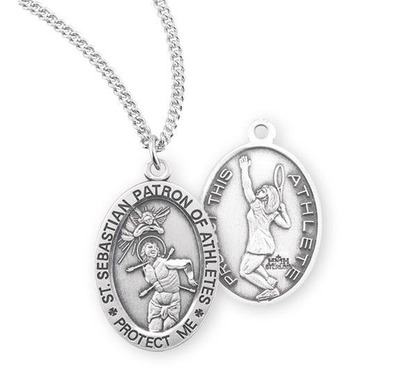 St Sebastian Female Tennis Sterling Silver Sports Necklace by HMH Religious