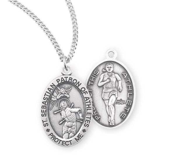 St Sebastian Female Track and Field Sterling Silver Sports Necklace by HMH Religious