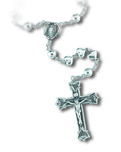 HMH Religious Solid Heart Sterling Silver Prayer Rosary Beads