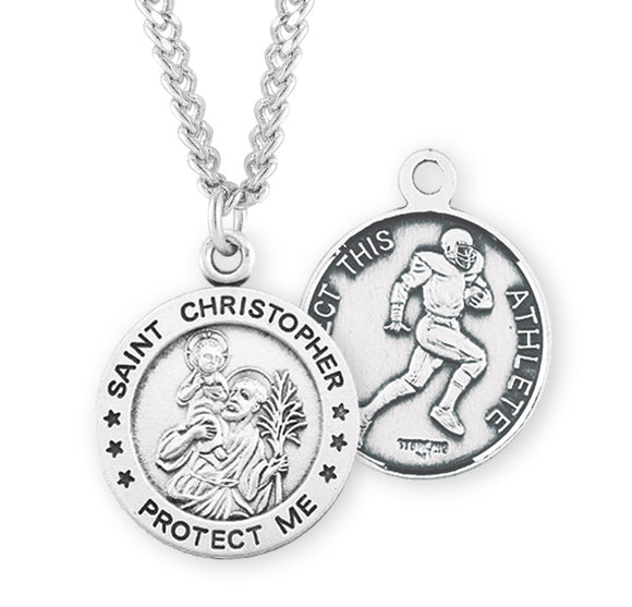 St Christopher Round Football Sports Saint Medal Necklace by HMH Religious