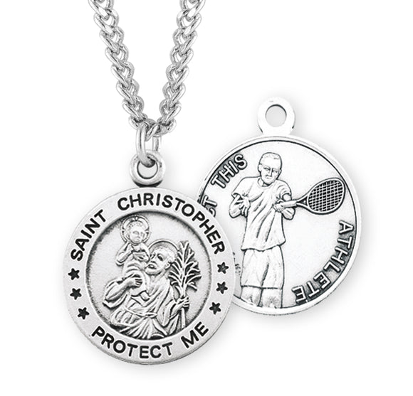 St Christopher Round Tennis Sports Saint Medal Necklace by HMH Religious