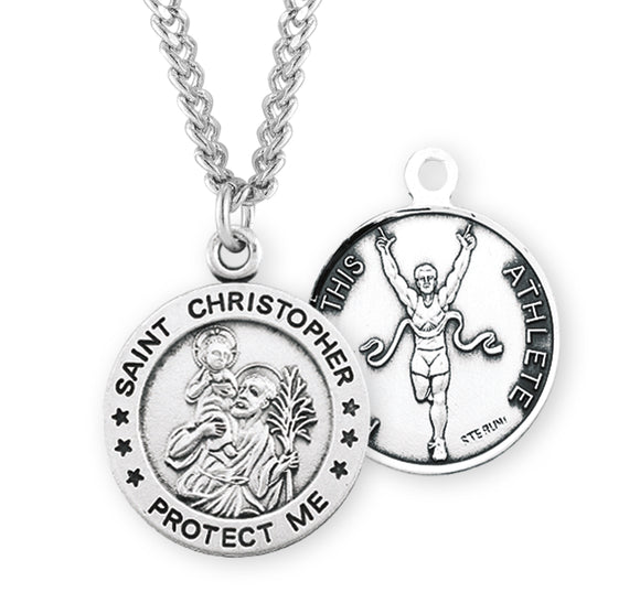 St Christopher Round Track and Field Sports Saint Medal Necklace by HMH Religious