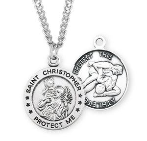 HMH Religious St Christopher Sterling Round Wrestling Sports Saint Medal Necklace