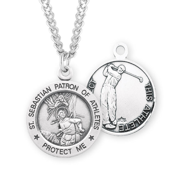 HMH Religious St Sebastian Round Golf Sports Saint Medal Necklace