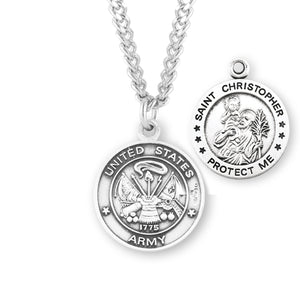 HMH Religious St Christopher US Army Military Sterling Silver Pendant Necklace