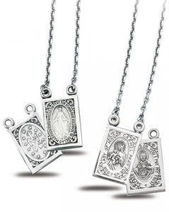 HMH Religious Scapular Miraculous, Mt Carmel & Sacred Heart Jesus Sterling Silver Medal Pendant Necklace
