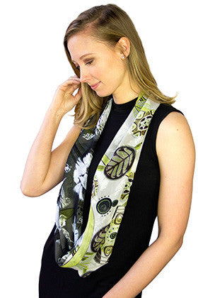 Infinity Shadow Pattern Scarf - Green/Floral