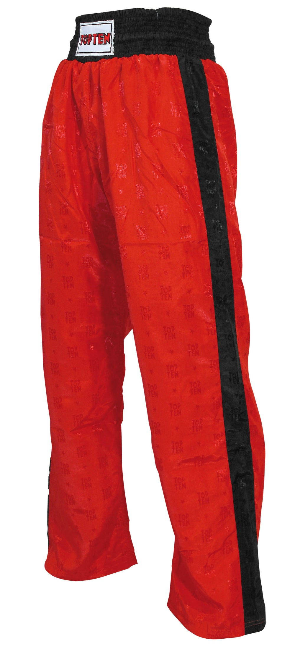 Top Ten Kickboxing Pants Red with Black Stripe