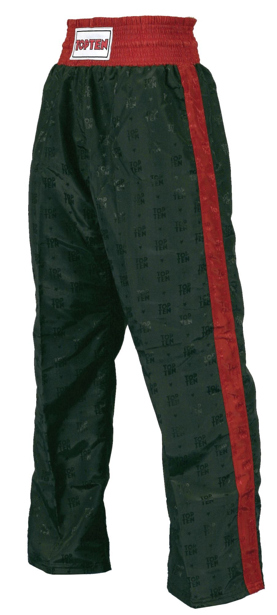 Top Ten Kickboxing Pants Black with Red Stripe