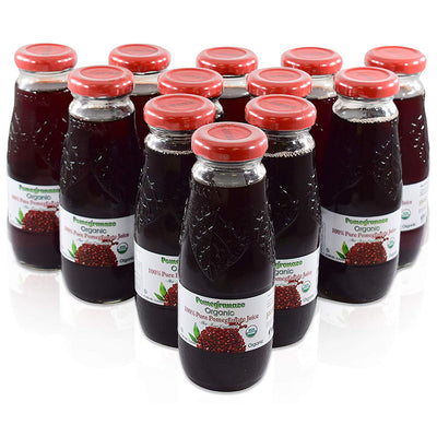 100% Pure Organic Pomegranate Juice, Glass Bottle, No Sugar Added, 6.76 Fl Oz, Pack of 12