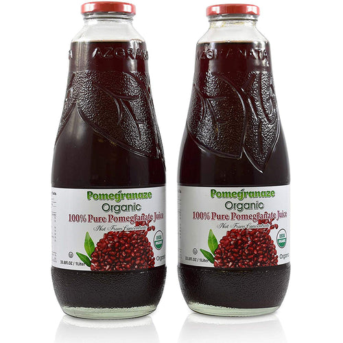 100% Pure Organic Pomegranate Juice, Glass Bottle, No Sugar Added, 33.8 Fl Oz, Pack of 2