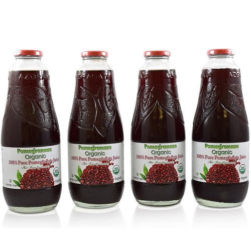 100% Pure Organic Pomegranate Juice, Glass Bottle, No Sugar Added, 33.8 Fl Oz, Pack of 4
