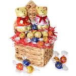 Valentine's Day Gift Basket – Large Bears and Truffles in Heart Shaped Basket - Chocolate Gifts for Him and Her
