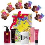 Valentine's Day Gift Basket - Coffee Mug, Heart Chocolate, Harnn Body Care Oriental Rose Gift Box