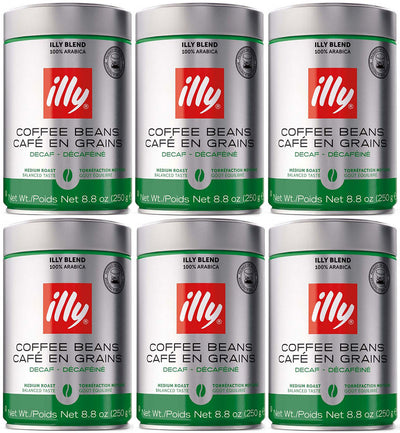 Illy Caffe Whole Bean Decaf Coffee 250g (6-pack)