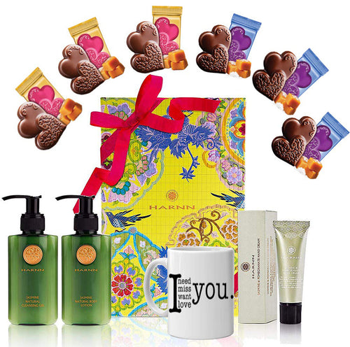 Valentine's Day Gift Basket - Coffee Mug, Heart Chocolate, Harnn Body Care Jasmine Natural Gift Box