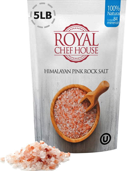 Himalayan Pink Salt 5 LBS Coarse Grain Bulk Bag - 100% Natural - Contains 84 Minerals