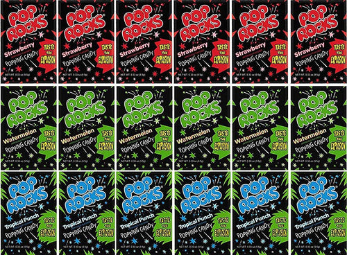 Blue Ribbon Pop Rocks Popping Mixed Candy Care Package - 18 Count - Strawberry, Watermelon, Tropical Punch Gift Box
