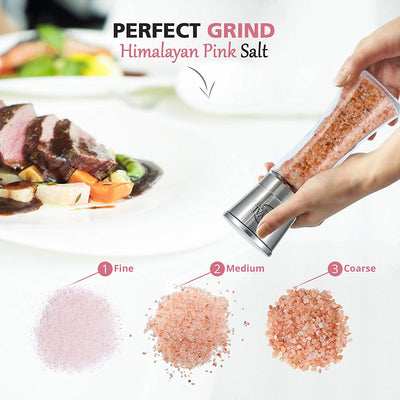 Himalayan Pink Salt & Black Pepper Grinders - Pre-filled with Himalayan Rock Salt and Pepper - Premium Glass and Stainless Steel Salt Mill and Pepper Mill