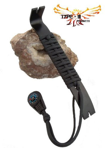 Type-III Apocalypse Pry Bar with 7 Strand 550 Paracord Wrapped Handle and Mini Compass