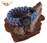 Type-III 7 Strand 550 Paracord Bracelet w/ Compass in Camo and Two-Tone Colors