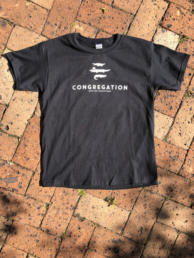Black T shirt with Congregation Coffee Roasters logo  with 3 stacked alligators above the text. Print is white discharge ink.