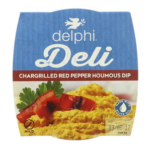 Delphi Foods - Chargrill Red Pepper Houmous Dip (Hummus) (170g) - TheVeganKind