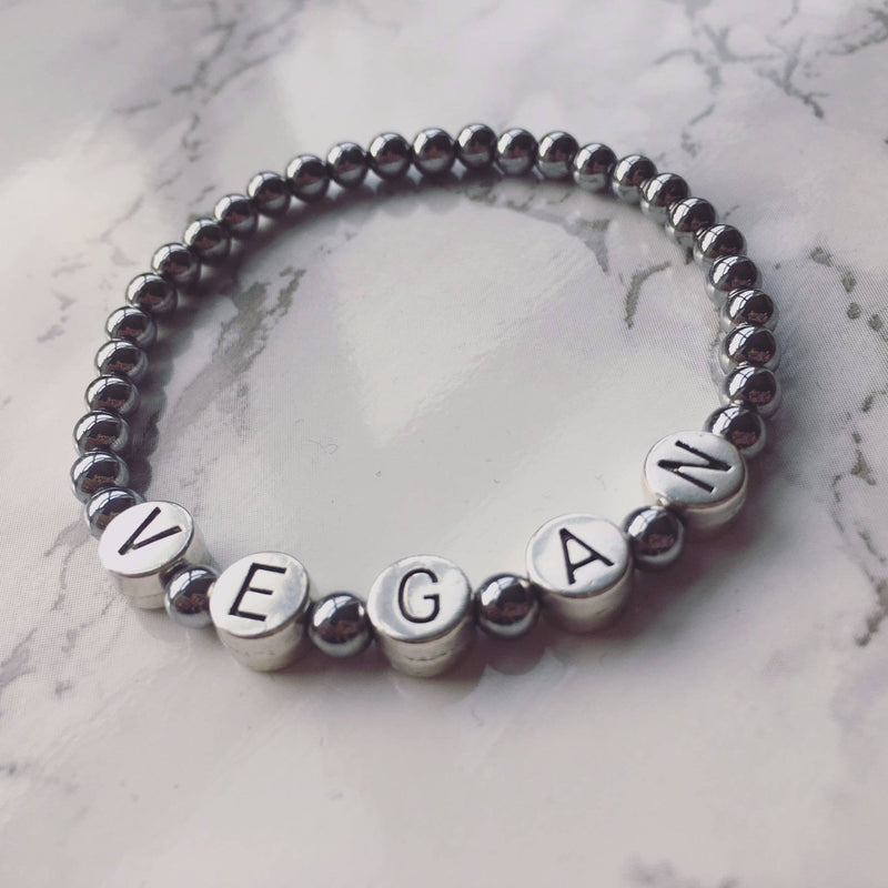 Accessories - 'Vegan' Slogan Bracelet (Silver Shade) INTRODUCTORY PRICE OF £8 (RRP £10)