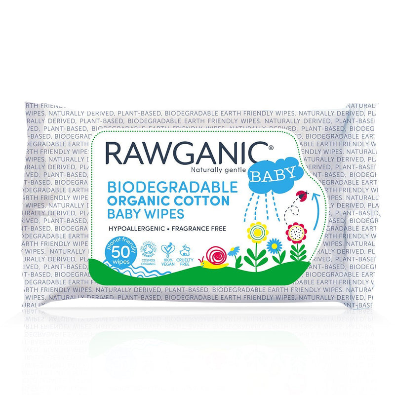 Baby Care - RAWGANIC - Biodegradeable Organic Cotton Baby Wipes (50 Wipes)