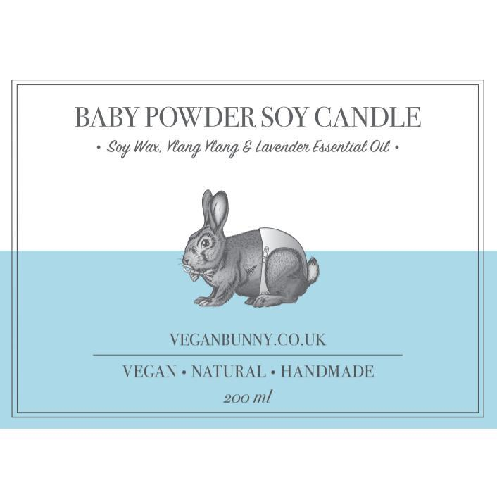 Candles - Vegan Bunny - Baby Powder Soy Candle