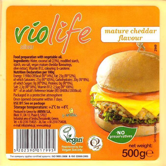 Cheeses - Violife - Mature Cheddar Flavour Cheese Slices (500g)